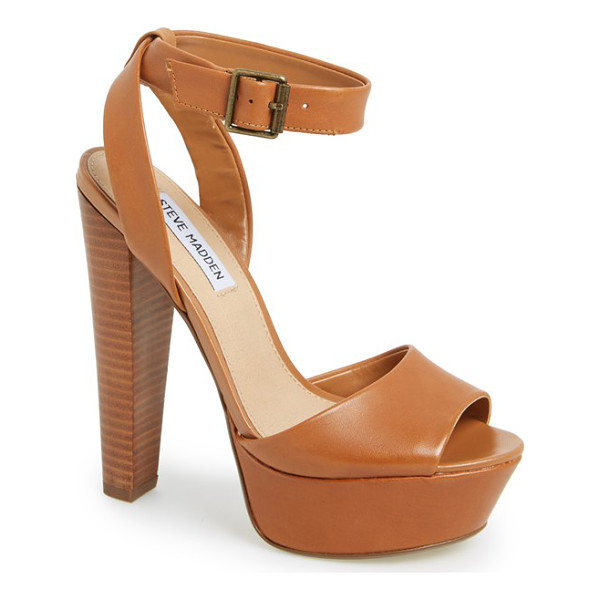 STEVE MADDEN gingeer leather platform sandal - A sky-high stacked heel and chunky platform boost a supple...