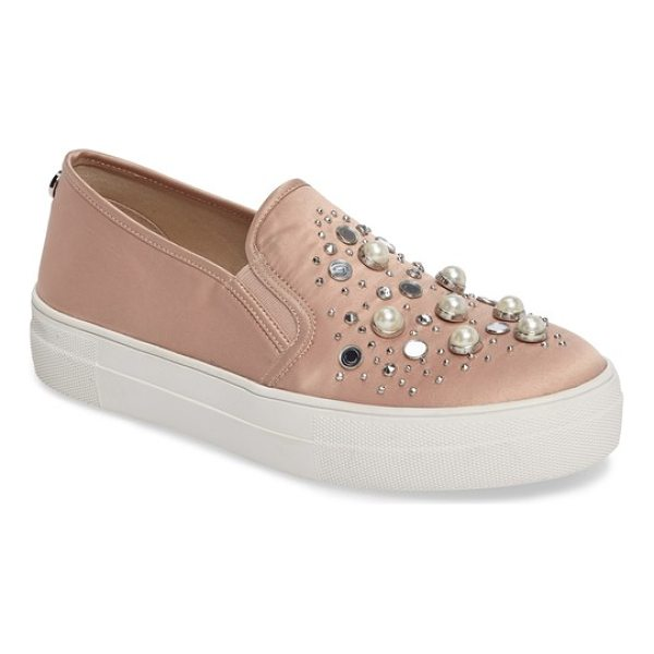 STEVE MADDEN glade embellished slip-on sneaker - A constellation of crystals and imitations pearls shimmers...