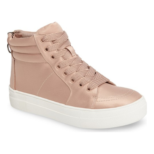 STEVE MADDEN golly mid top sneaker - Satiny fabric amps up the street-chic attitude of a...
