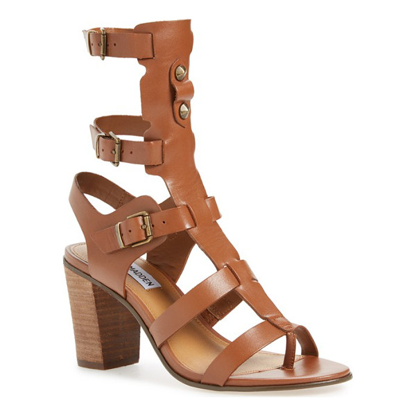 STEVE MADDEN homegirl buckle gladiator sandal - A dramatic T-strap is held aloft by rows of foot and ankle...