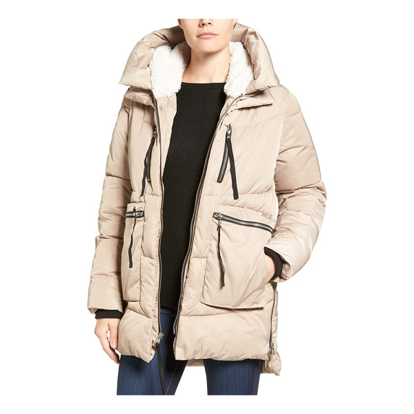 STEVE MADDEN hooded puffer jacket with faux shearling trim - Plush faux shearling lines the hood of this puffer jacket...