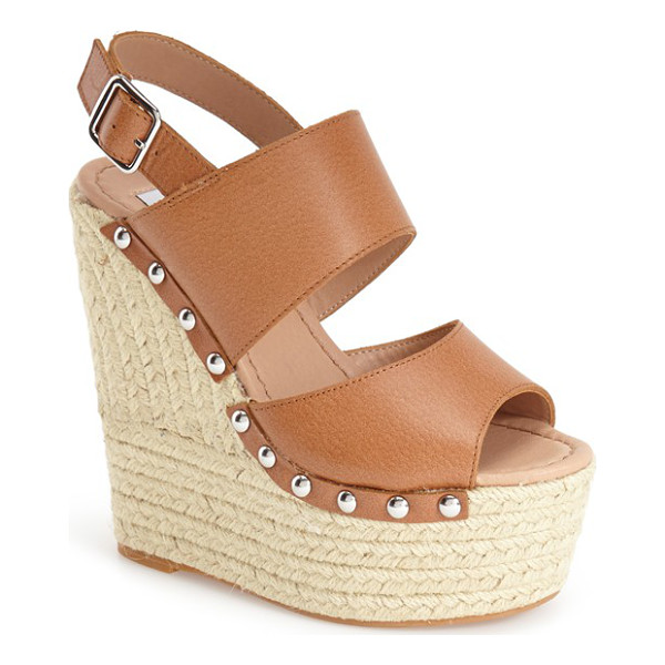 STEVE MADDEN jummbo espadrille wedge sandal - Braided trim wraps the super-chunky wedge and platform of a...
