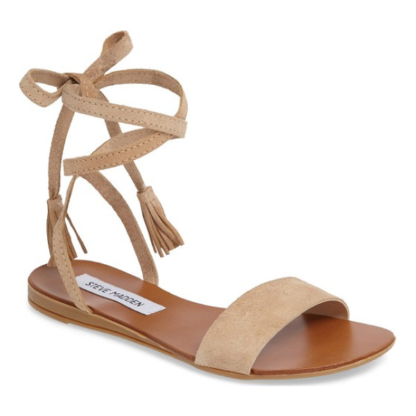 STEVE MADDEN kapri wraparound lace sandal - Tassels tip the soft, wraparound laces of a breezy flat
