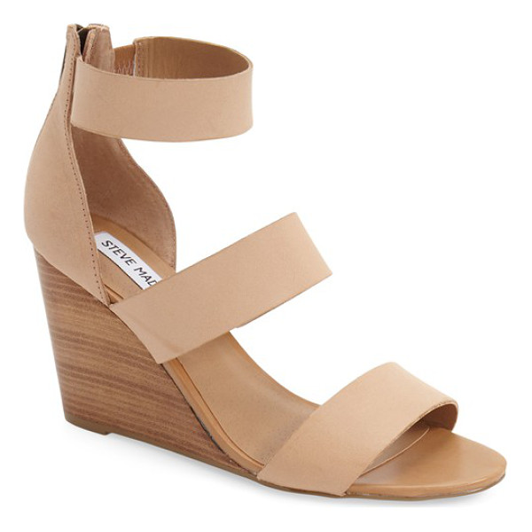 STEVE MADDEN karey wedge sandal - A trio of smooth leather straps tops the foot on a...