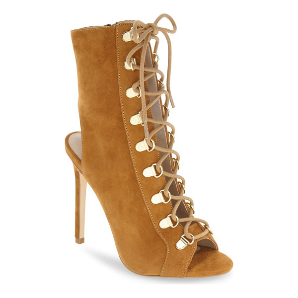 STEVE MADDEN kennee open toe bootie - Utilitarian-inspired laces weaving through goldtone...