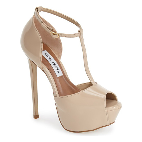 STEVE MADDEN kriminal t-strap platform sandal - A lofty platform adds bold retro flair to a high-shine...