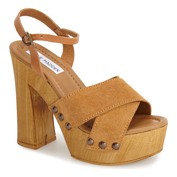 STEVE MADDEN lia ankle strap sandal - A stunning sandal takes on the '70s trend with suede...