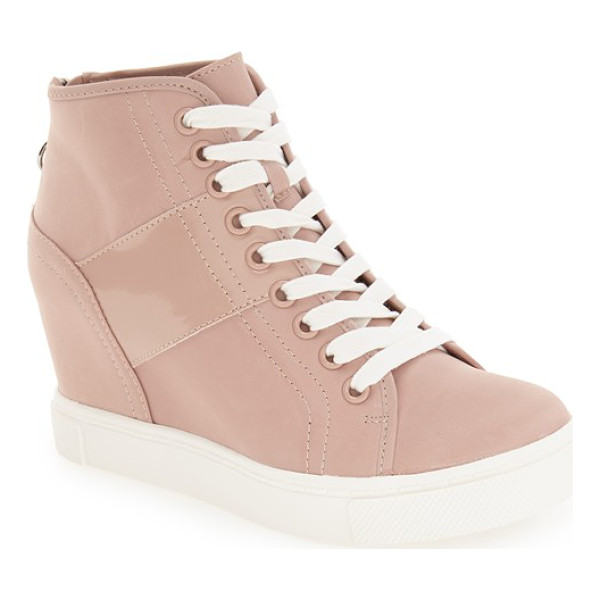 STEVE MADDEN lussious hidden wedge sneaker - Tonal stripes subtly enhance the sporty style of a...