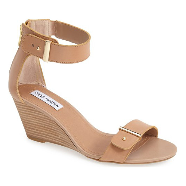 STEVE MADDEN narissaa ankle strap wedge sandal - Gleaming push studs and sleek gilded bars add just the...