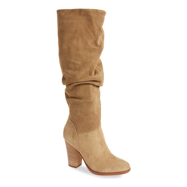 STEVE MADDEN nevadaaa knee high boot - A slouchy silhouette distinguishes a chic suede boot lifted...