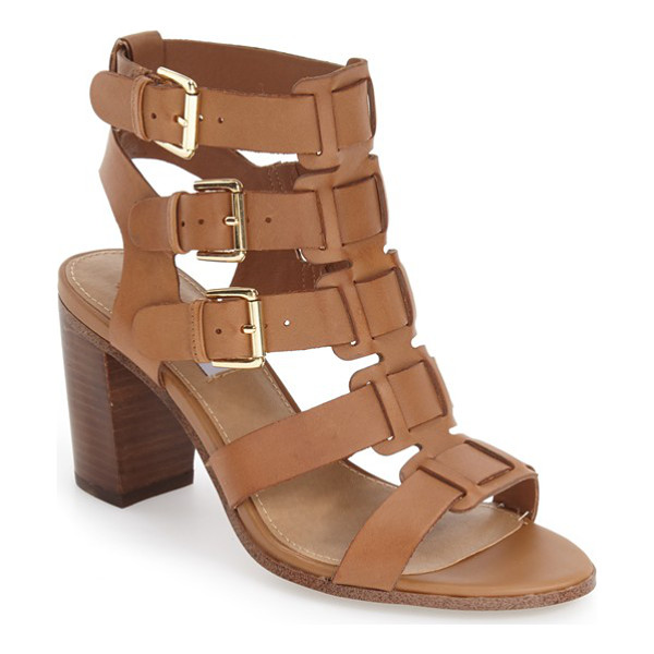 STEVE MADDEN ninna cage block heel sandal - Laddered buckle straps create a striking caged effect for a...