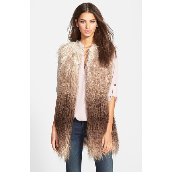 STEVE MADDEN ombre faux fur vest - Shaggy faux fur with the look of Mongolian sheepskin gets...
