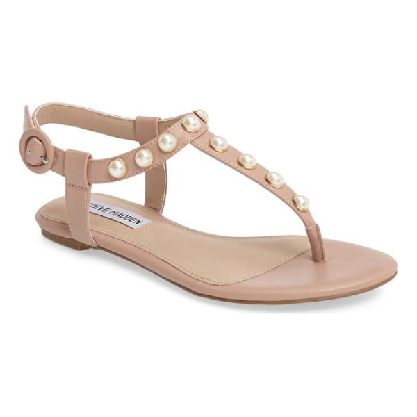 STEVE MADDEN pamela sandal - Imitation pearls stud this classic thong sandal with...