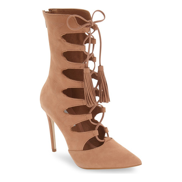 STEVE MADDEN 'piper' lace-up bootie - A nubuck leather bootie makes a dramatic entrance with a...
