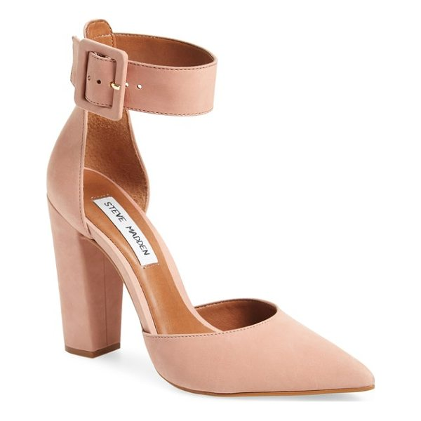 STEVE MADDEN posted ankle strap pump - A belted ankle strap balances the squared-off statement...