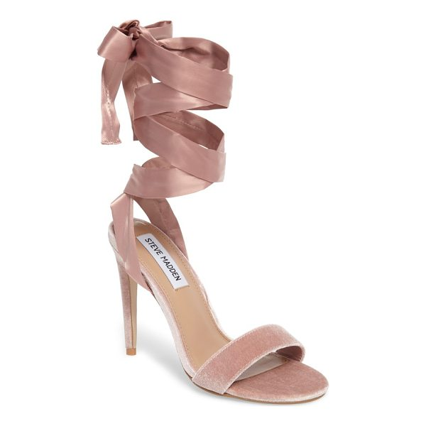 STEVE MADDEN promise sandal - The satiny straps on this velvet stiletto sandal wrap...