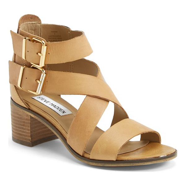 STEVE MADDEN rosana double ankle strap leather sandal - Perfectly on-trend crisscrossed and dual buckled straps...