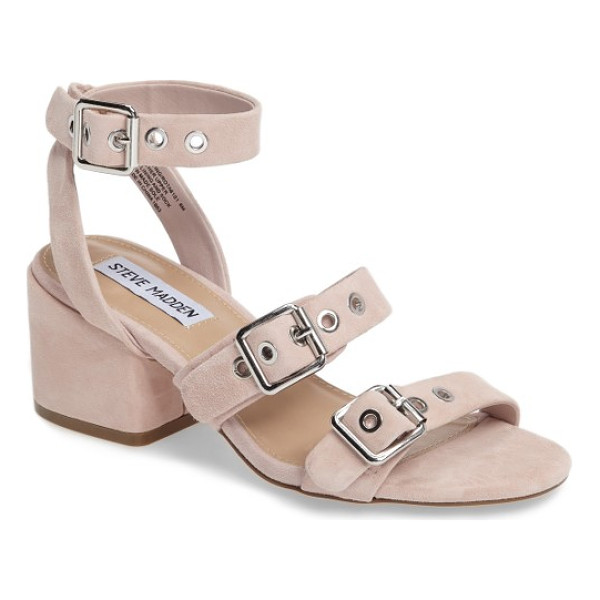 STEVE MADDEN rotating ankle strap sandal - Silvery buckles and grommet hardware lend an...