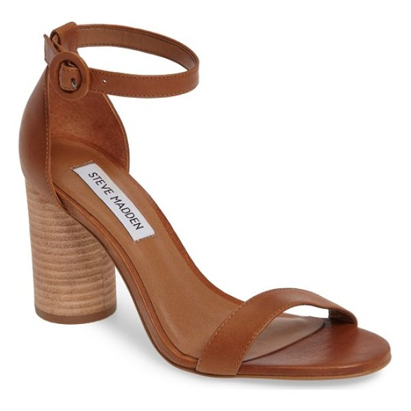 STEVE MADDEN sara column heel sandal - A stacked column heel and a round buckle bring curvy appeal...