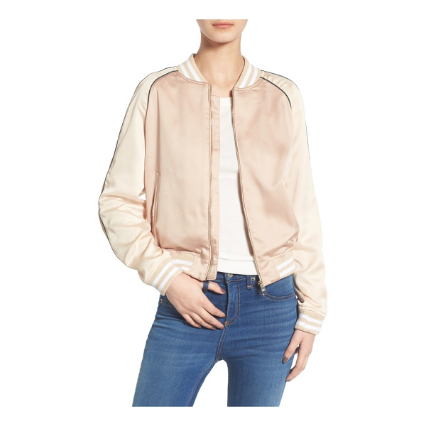 STEVE MADDEN satin bomber jacket - Striped trim and contrast raglan sleeves with piping bring
