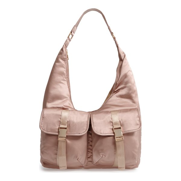 STEVE MADDEN satin hobo bag - Lustrous satin furthers the '70s-inspired vibe of a slouchy...