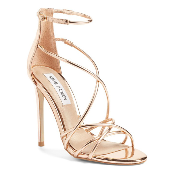 STEVE MADDEN satire strappy sandal - Barely there metallic straps intertwine at the toe and