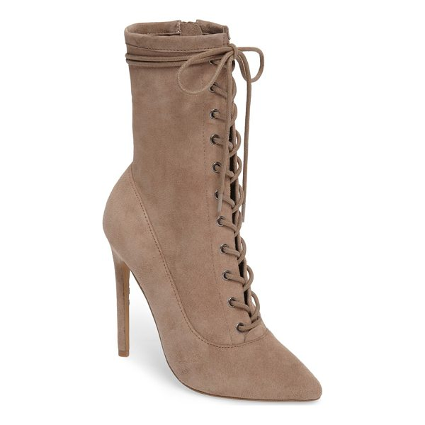 STEVE MADDEN satisfied corset-lace bootie - A Victorian-inspired bootie sheds the prim attitude with a...
