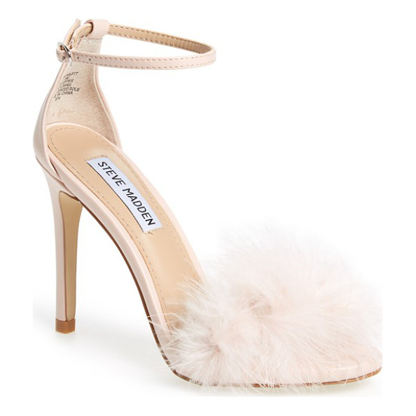 STEVE MADDEN 'scarlett' marabou evening sandal - A flirty, marabou-covered toe is balanced by a slender
