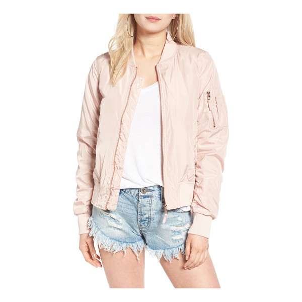 STEVE MADDEN side zip bomber jacket - Zip vents at the sides add a utility-chic touch to a satin...