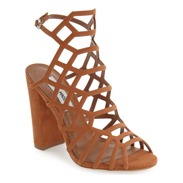 STEVE MADDEN skales cage sandal - A dramatic strappy cage of supersoft nubuck leather lifted...