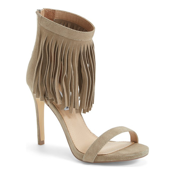 STEVE MADDEN staarz ankle fringe sandal - Sweeping fringe twists and turns with every step on an...