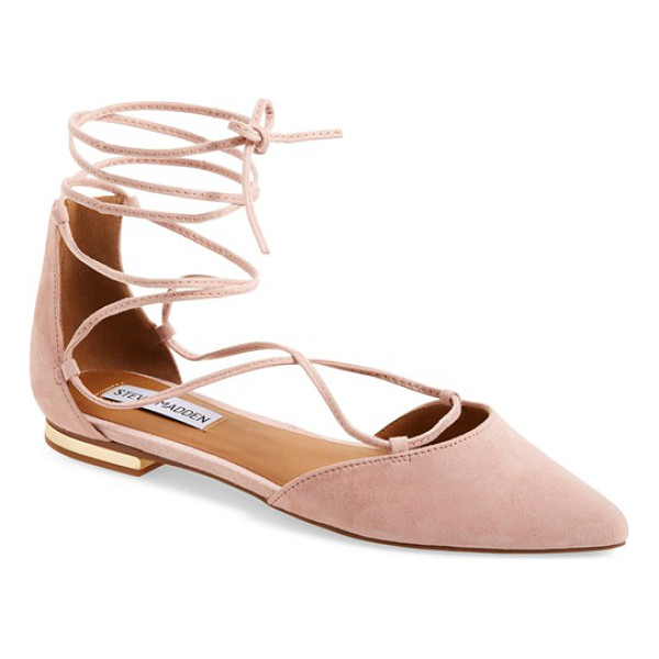 STEVE MADDEN sunshine lace-up flat - Gleaming hardware at the heel elevates a streamlined...