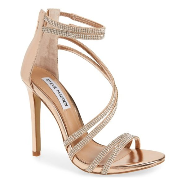 STEVE MADDEN sweetest embellished sandal - Sparkling crystals embellish the slim, swooping straps of a...