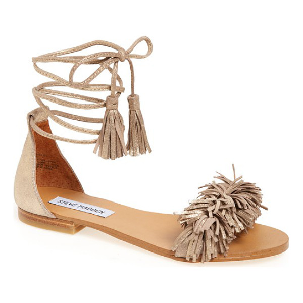 STEVE MADDEN 'sweetyy' lace-up sandal - A fringed strap and tassel-embellished wraparound laces add...