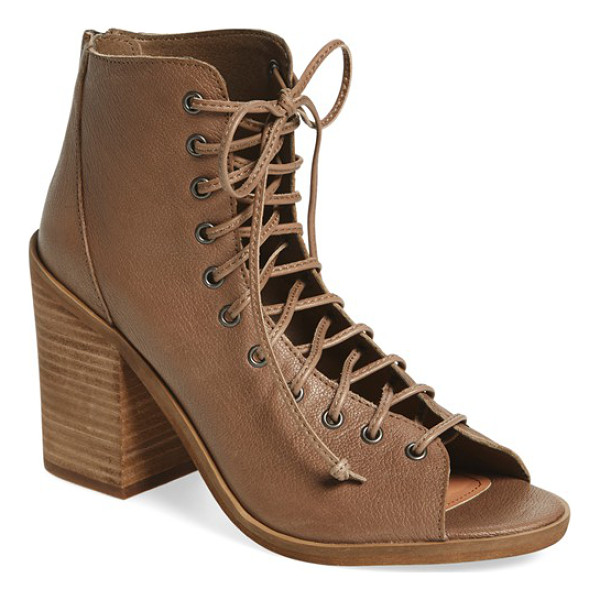 STEVE MADDEN tempting lace-up bootie - A blocky stacked heel lifts a trend-right bootie shaped...