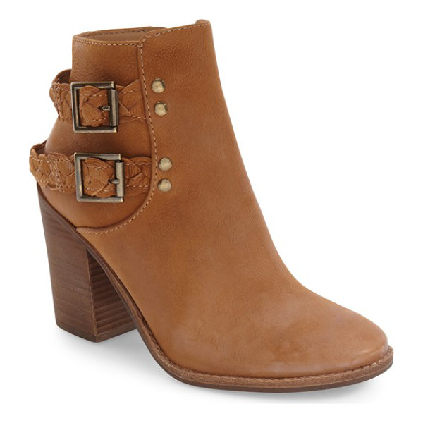 STEVE MADDEN tender braided strap bootie - Buckled straps of braided leather detail the shaft of this...