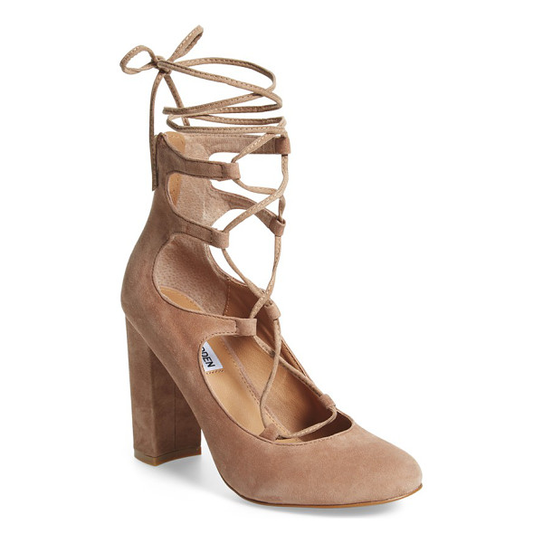 STEVE MADDEN voxx ghillie pump - Ghillie straps provide a trend-savvy upgrade for a lofty...