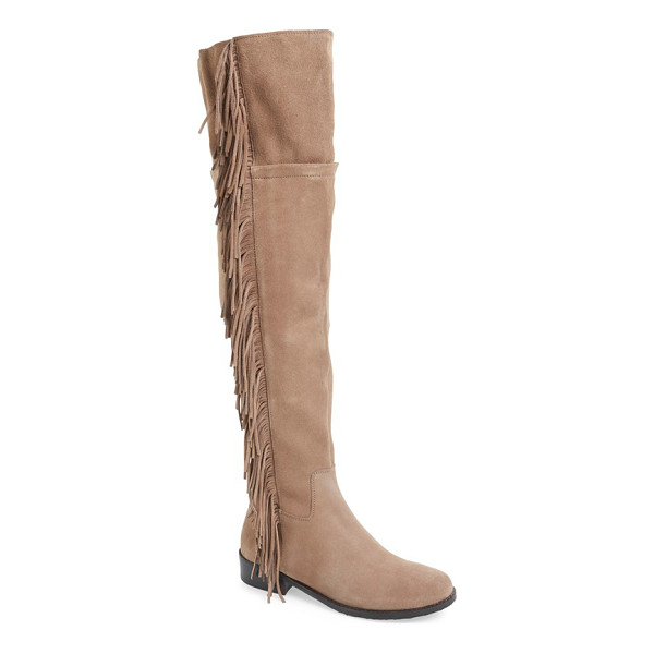 STEVE MADDEN wowwzer over the knee boot - Suede fringe cascades down the side of a chic over-the-knee...