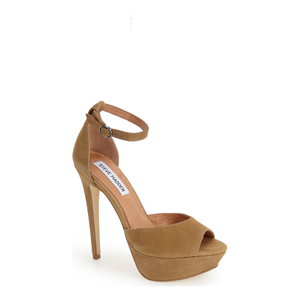 STEVE MADDEN yevone ankle strap sandal - Stand tall in this lofty suede sandal in a stunning...