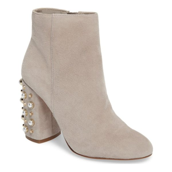 STEVE MADDEN yvette embellished bootie - Mounted pearly beads and blunted cone studs bring...