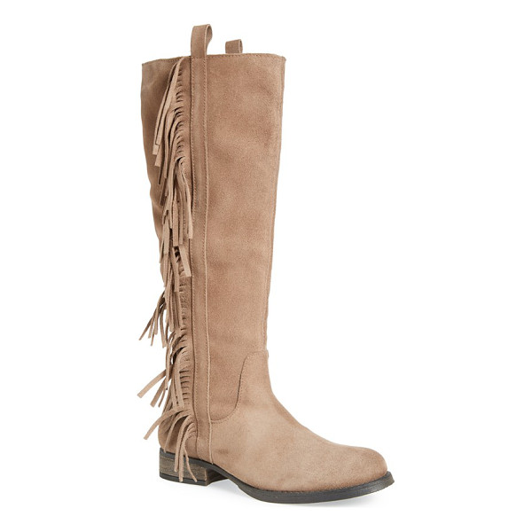 STEVEN BY STEVE MADDEN dallton tall fringe boot - An alluring knee-high boot composed in soft suede is amped...