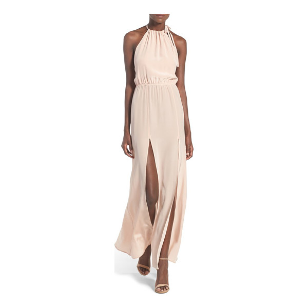 STONE COLD FOX onyx silk halter gown - Lustrous silk in the softest shade of dusty rose ensures...