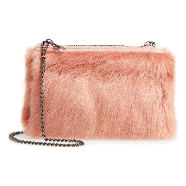 STREET LEVEL faux fur zip clutch - Shaggy faux fur adds touchable texture to a zip-top clutch...