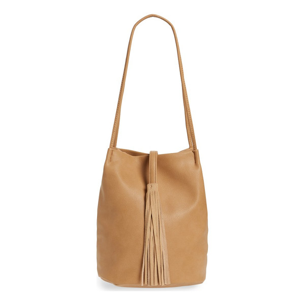 STREET LEVEL faux leather bucket bag - A tassel embellishment adds a rustic flourish to a textured