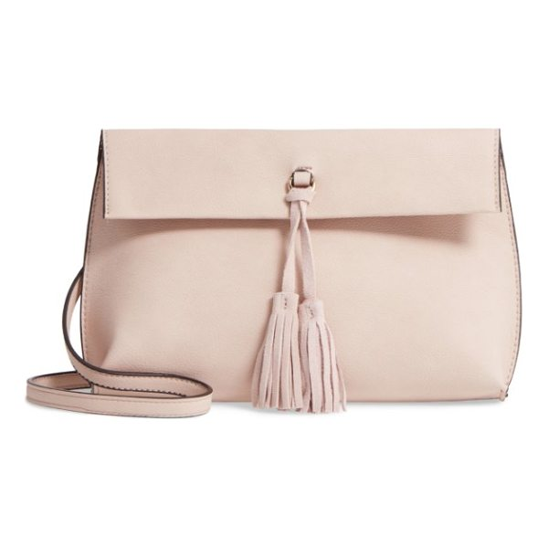 STREET LEVEL faux leather tassel tote - A swingy tassel centers the flap closure of a faux-leather...