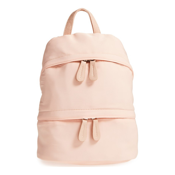 STREET LEVEL faux leather trim backpack - Sleek and sporty, this roomy backpack features easy-access...