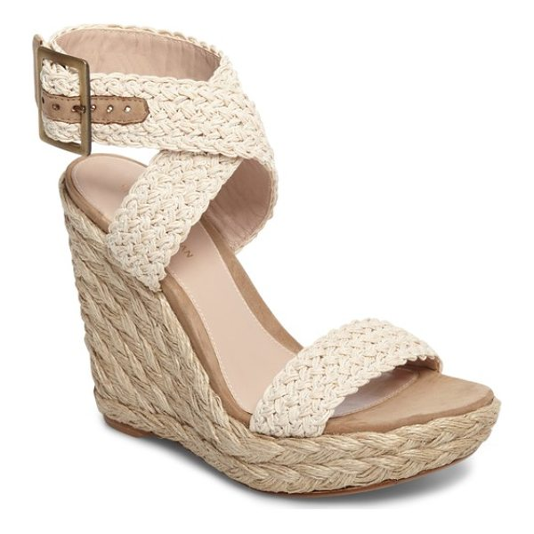 STUART WEITZMAN adventure wedge sandal - Woven straps crisscross at the ankle on chic platform...