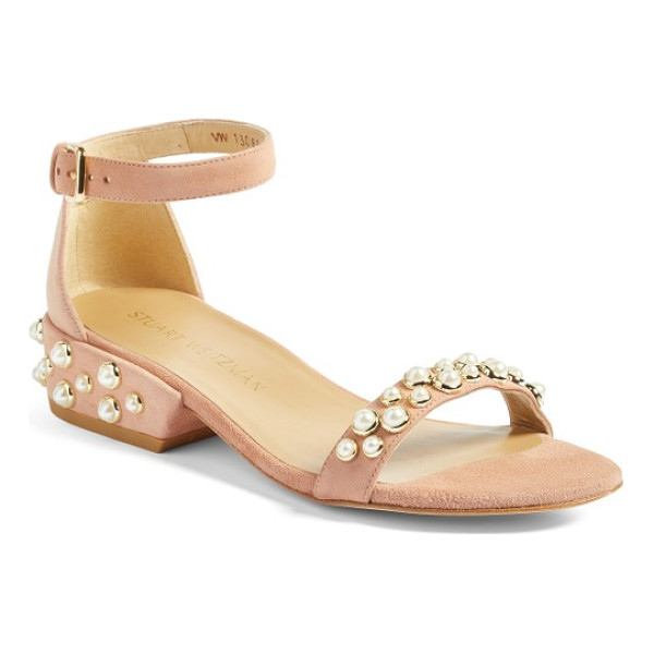 STUART WEITZMAN allpearls ankle strap sandal - Imitation pearls dot the vamp and heel of a lavish suede...