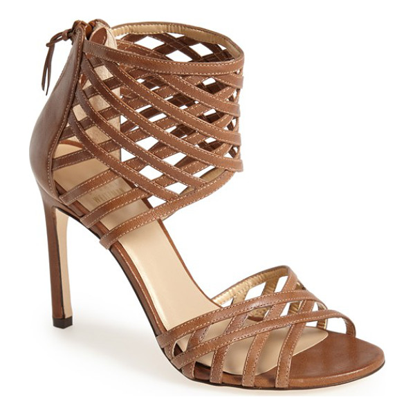 STUART WEITZMAN cajun leather sandal - Slim leather bands form the bold ankle cuff and vamp strap...