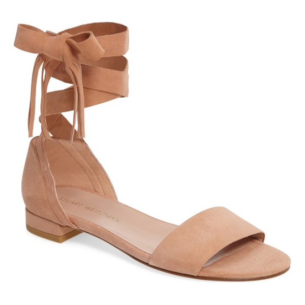 STUART WEITZMAN corbata sandal - Lavish suede and fringe-tipped ankle ties take a standard...